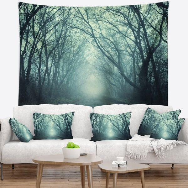 Designart 'Scary Forest with Green Light' Landscape Photography Wall Tapestry