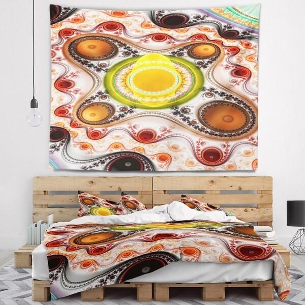 Designart 'Brown Wavy Curves and Circles' Abstract Wall Tapestry
