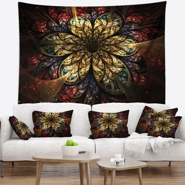 Designart 'Fractal Flower Yellow Red Digital Art' Flower Wall Tapestry