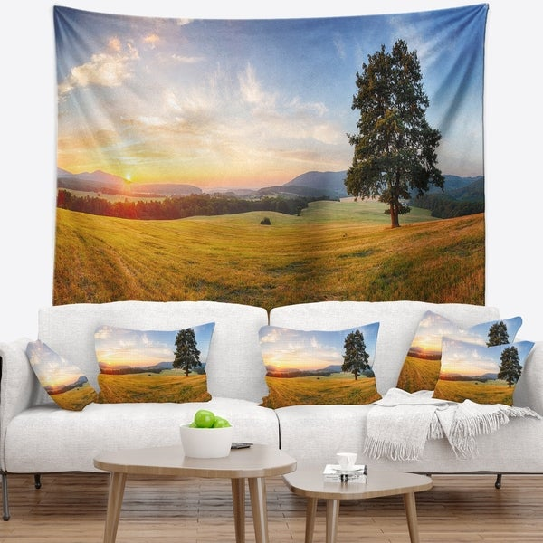 Designart 'Lonely Tree on Meadow at Sunset' Landscape Photography Wall Tapestry