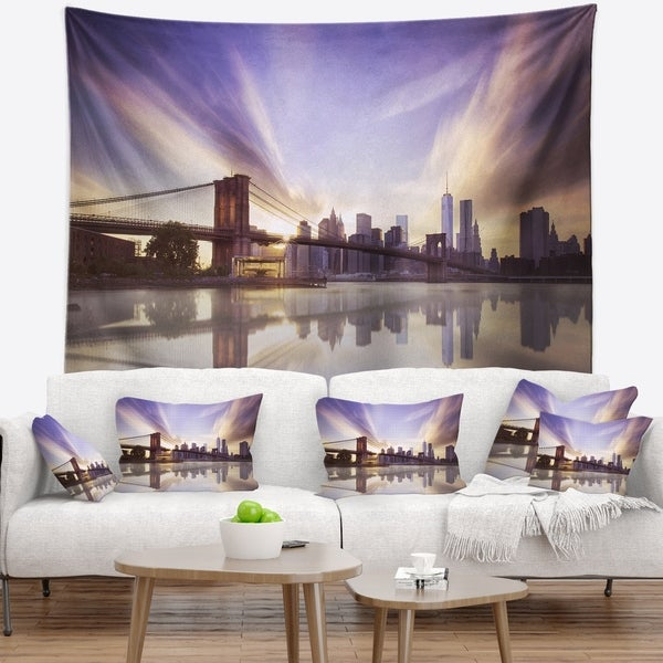 Designart 'Purple Sky Over Brooklyn Bridge' Cityscape Photo Wall Tapestry