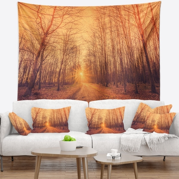 Designart 'Forest Road into Sunrise' Landscape Photography Wall Tapestry