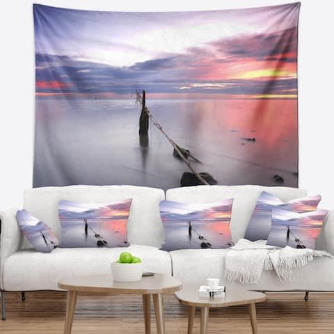 Designart 'Lazy River at River Tejo Sacavem' Seashore Wall Tapestry