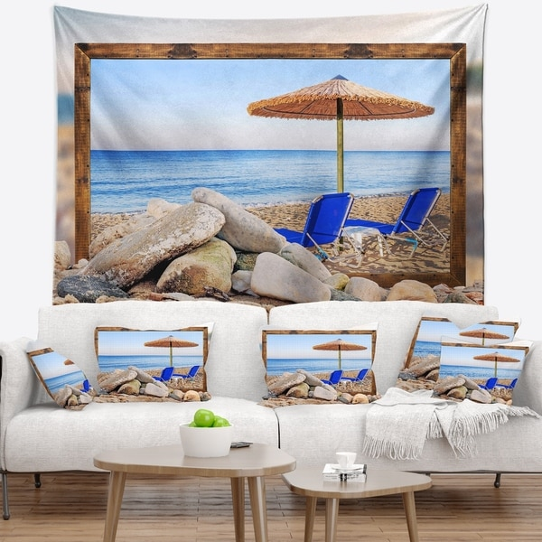 Designart 'Framed Effect Beach with Chairs Umbrella' Seashore Photo Wall Tapestry