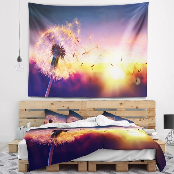 Designart 'Dandelion at Sunset Freedom to Wish' Abstract Wall Tapestry