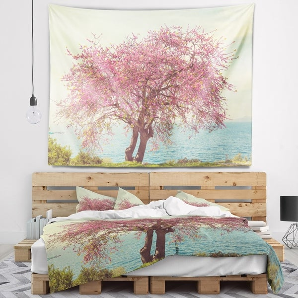 Designart 'Pink Flowers on Lonely Tree' Landscape Wall Tapestry