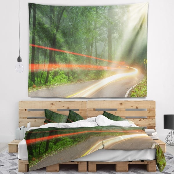 Designart 'Foggy Morning with Sun Rays' Landscape Photo Wall Tapestry