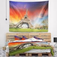 Designart 'Paris Eiffel TowerUnder Colorful Sky' Landscape Photo Wall Tapestry