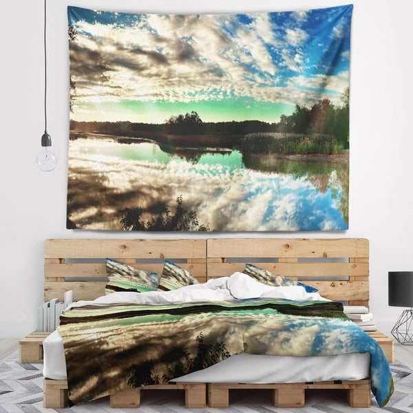 Designart 'Sky Clouds Mirrored in River Panorama' Landscape Wall Tapestry