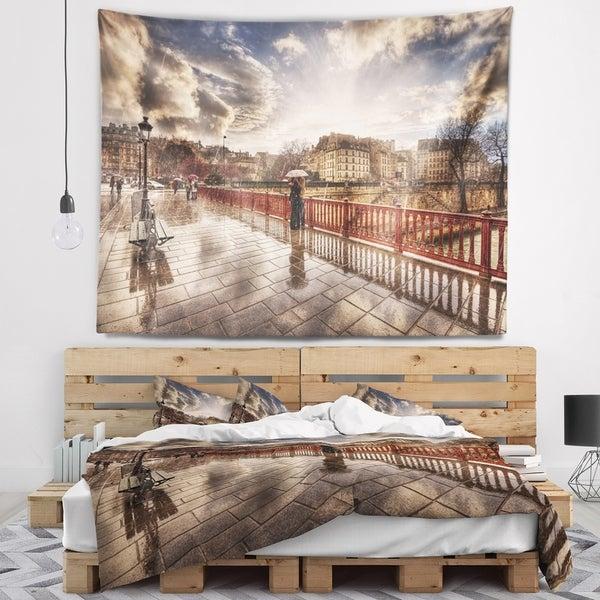 Designart 'Bridge in Rain' Landscape Photo Wall Tapestry