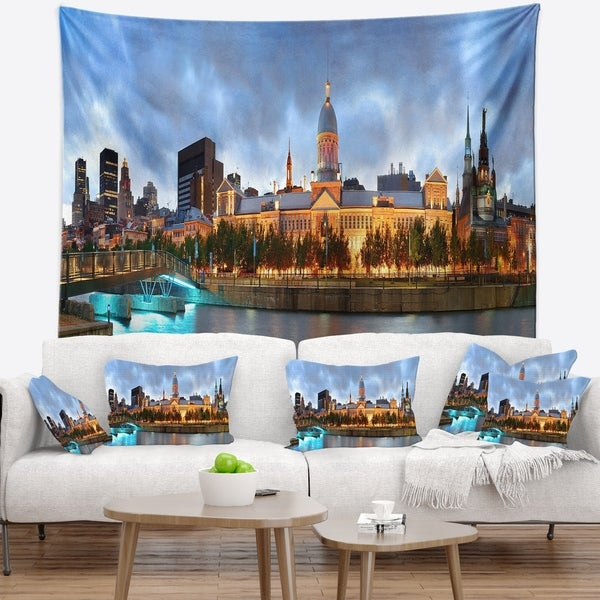 Designart 'Montreal Panoramic View' Cityscape Photo Wall Tapestry