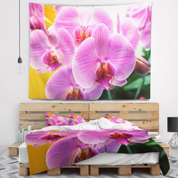 Designart 'Beautiful Purple Orchid Flowers' Flower Wall Tapestry