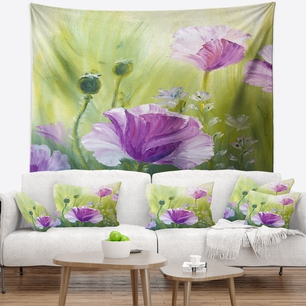 Designart 'Purple Poppies in Morning' Floral Wall Tapestry