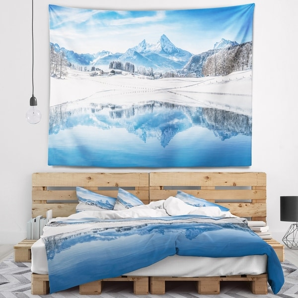 Designart 'Icy Winter Mountain Alps' Landscape Photography Wall Tapestry