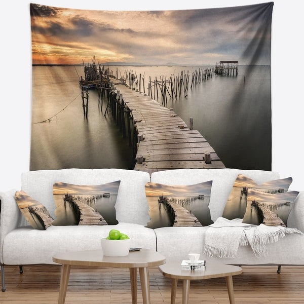 Designart 'Carrasqueira Old Wooden Pier' Seashore Photo Wall Tapestry