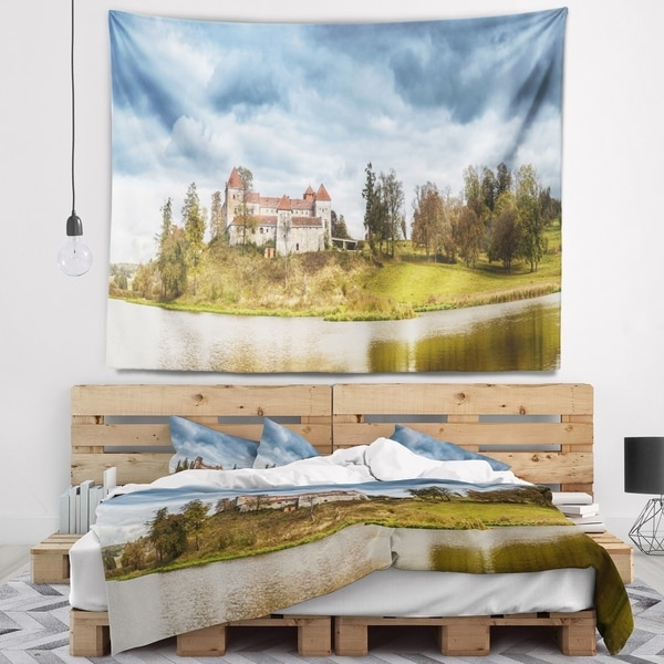 Designart 'Castle by the Lake' Photography Landscape Wall Tapestry