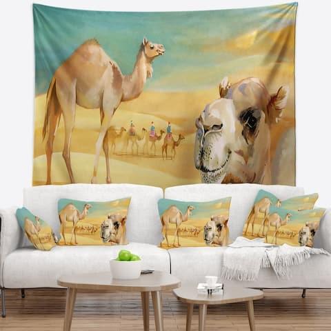 Designart 'Wandering Camels in Desert' Watercolor Animal Wall Tapestry