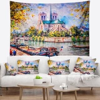 Designart 'Notre Dame Paris' Landscape Wall Tapestry