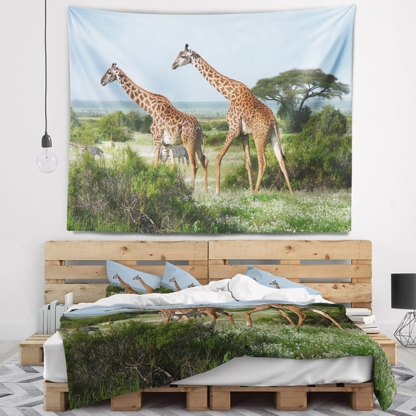 Designart 'Two Giraffes in African Savannah' African Wall Tapestry