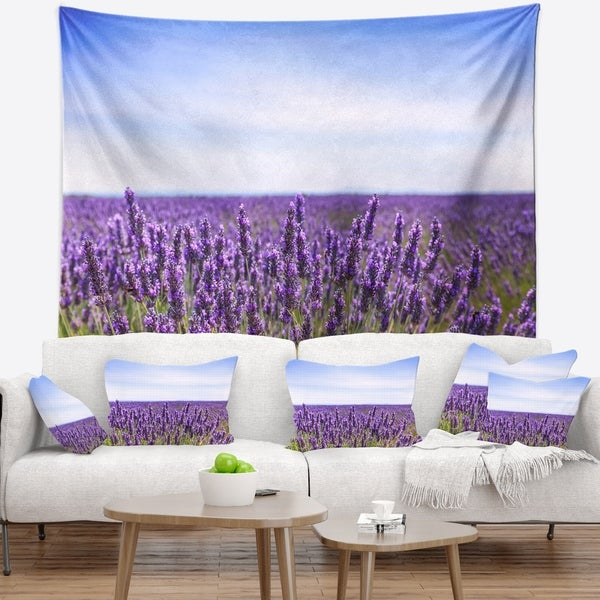 Designart 'Close View of Lavender Flower Field' Landscape Wall Wall Tapestry