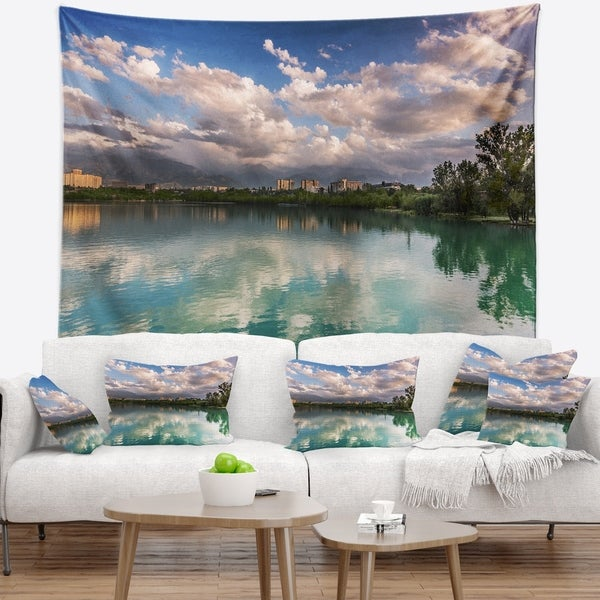 Designart 'City Lake with Cloud Reflection' Cityscape Photo Wall Tapestry
