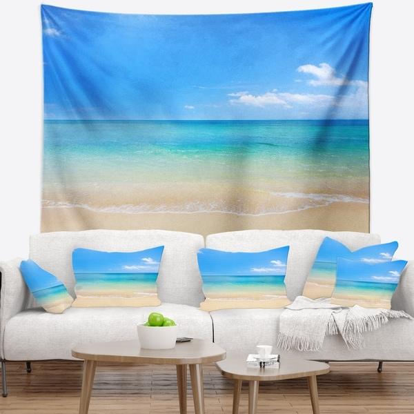 Designart 'Blue Waters Below Blue Sky' Seashore Photo Wall Tapestry