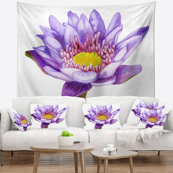 Shop Designart Hand Drawn Purple Lotus Floral Wall Tapestry On