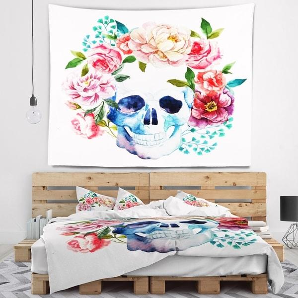 Designart 'Skull Bouquet Vector Art' Contemporary Wall Tapestry