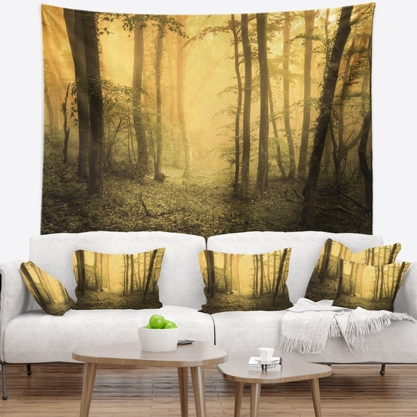 Designart 'Trail Through Yellow Foggy Forest' Landscape Photography Wall Tapestry