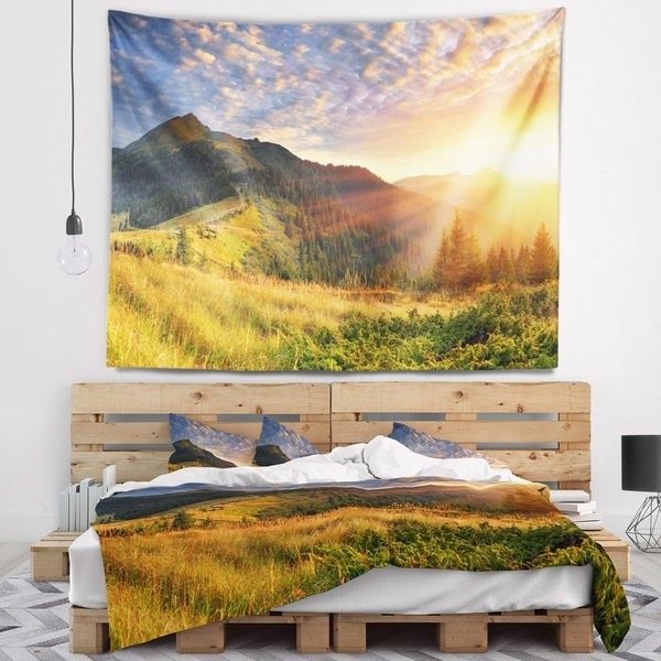 Designart 'Summer Sunrise Under Thick Clouds' Landscape Photography Wall Tapestry