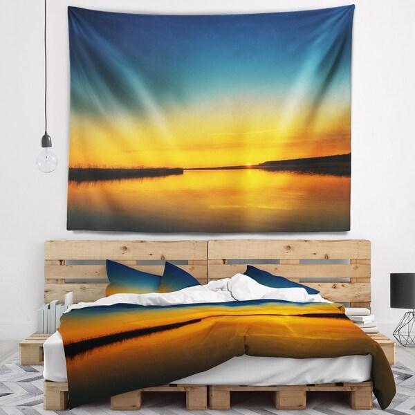 Designart 'Orange Sunset Over River' Skyline Photography Wall Tapestry