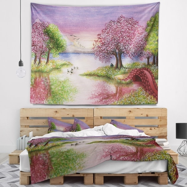 Designart 'Romantic Lake in Pink and Green' Landscape Wall Tapestry
