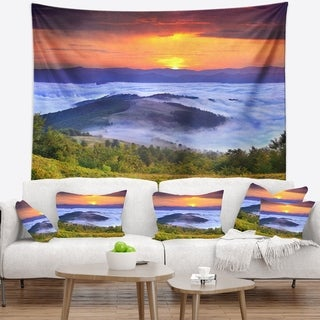 Designart 'Yellow Sunrise over Blue Waters' Landscape Photo Wall Tapestry