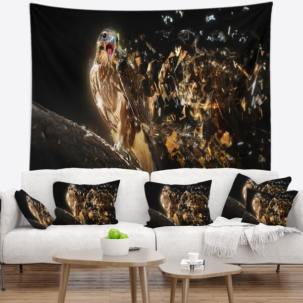Designart 'Falcon with Open Beak' Animal Wall Tapestry