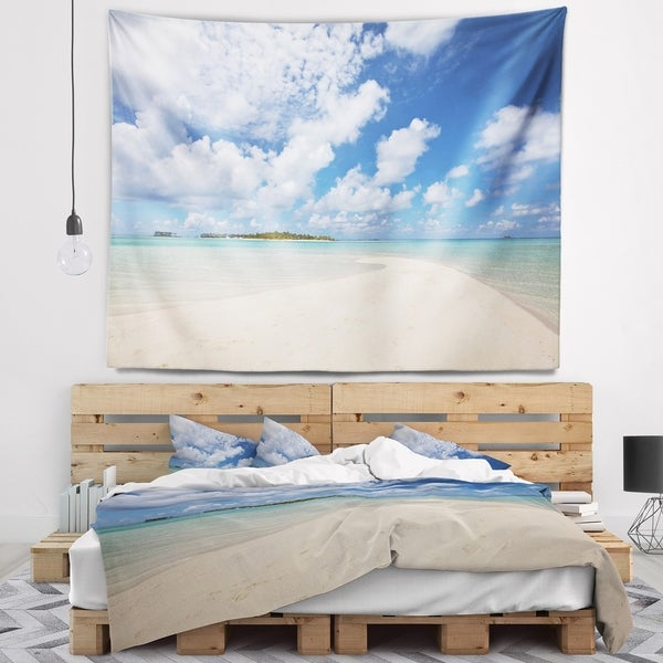 Designart 'Serene Maldives Beach under Clouds' Seascape Wall Tapestry