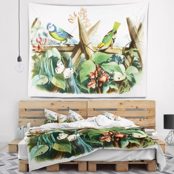 Designart 'Colorful Birds Sitting on Branches' Animal Wall Tapestry