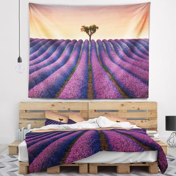 Designart 'Lavender and Lonely Tree Uphill' Landscape Photography Wall Tapestry