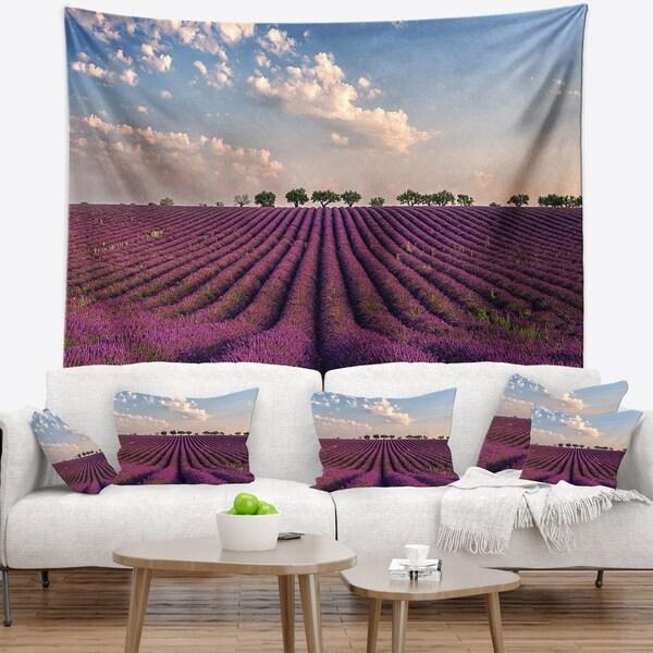 Designart 'Shiny Lavender Field in Provence' Landscape Wall Tapestry