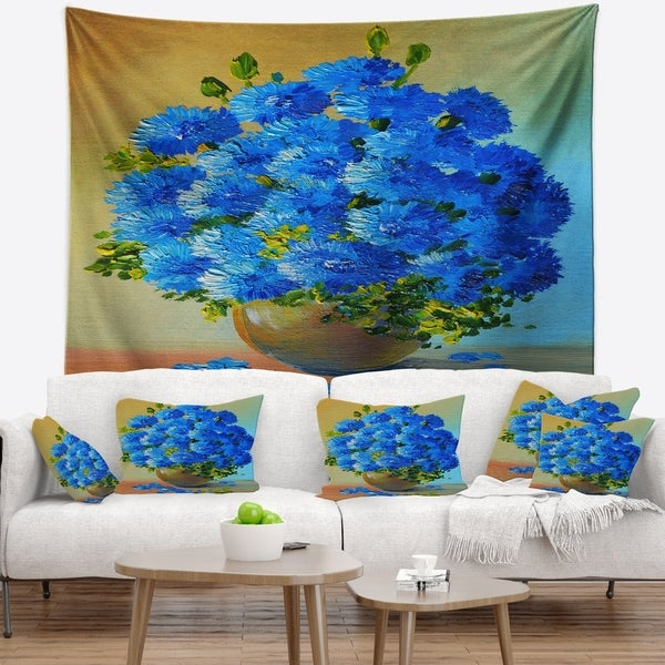 Designart 'A Bouquet of Blue Flowers' Floral Wall Tapestry
