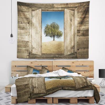 Designart 'Window Open To Solitary Tree' Modern Landscape Wall Tapestry