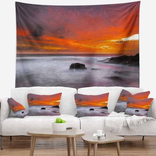 Designart 'Vividly Colorful Tropical Beach at Sunset' Seascape Wall Tapestry
