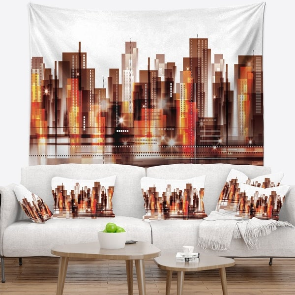 Designart 'Brown City Skyline' Cityscape Wall Tapestry