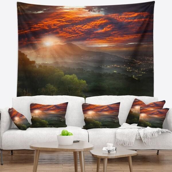 Designart 'Guanyin Mountain Sunrise Taipei' Photography Wall Tapestry