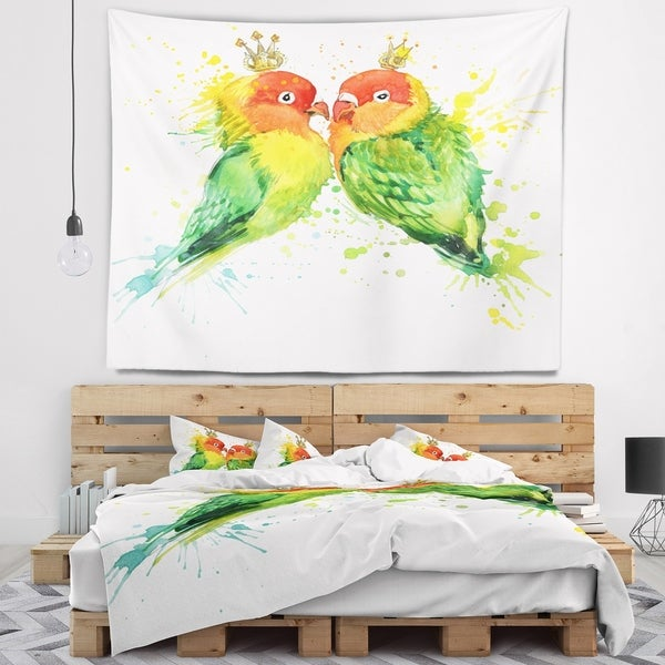 Designart 'Family Parrots' Watercolor Animal Wall Tapestry