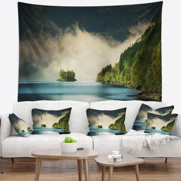 Designart 'Beautiful Lake By Green Mountains' Landscape Wall Tapestry
