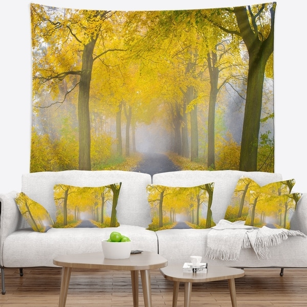 Designart 'Misty Road in Yellow Autumn Forest' Landscape Photography Wall Tapestry