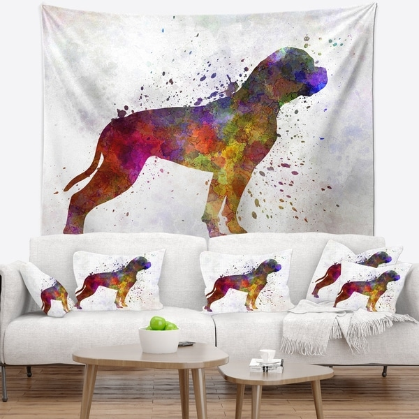 Designart 'American Bulldog' Animal Wall Tapestry