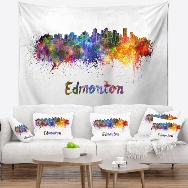 Designart 'Edmonton Skyline' Cityscape Wall Tapestry