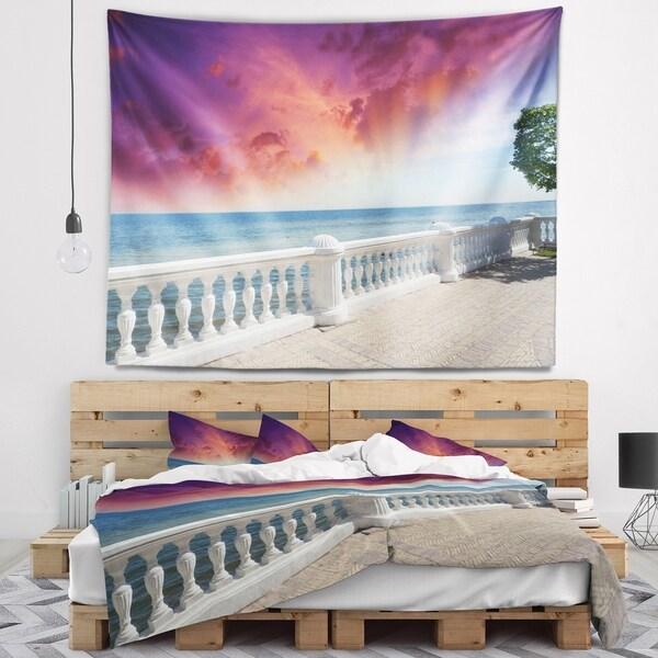 Designart 'Stone Balcony with Ocean View' Seashore Photo Wall Tapestry