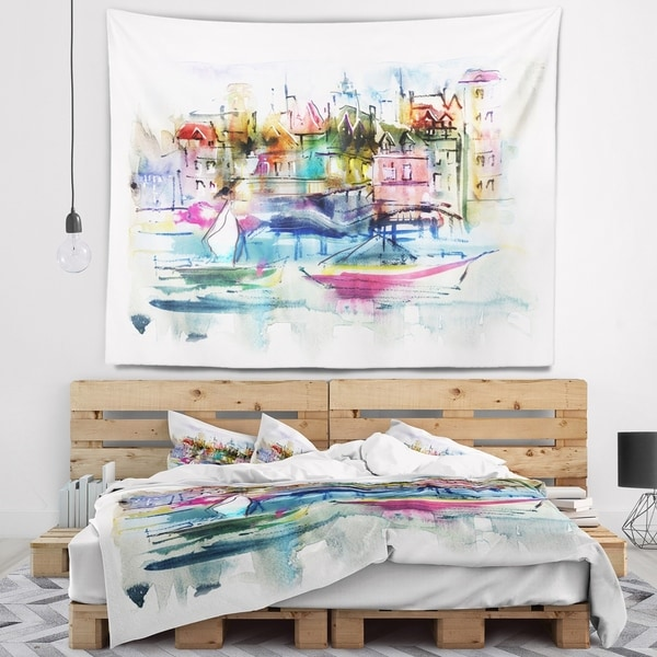Designart 'Houses and Boats' Landscape Wall Tapestry